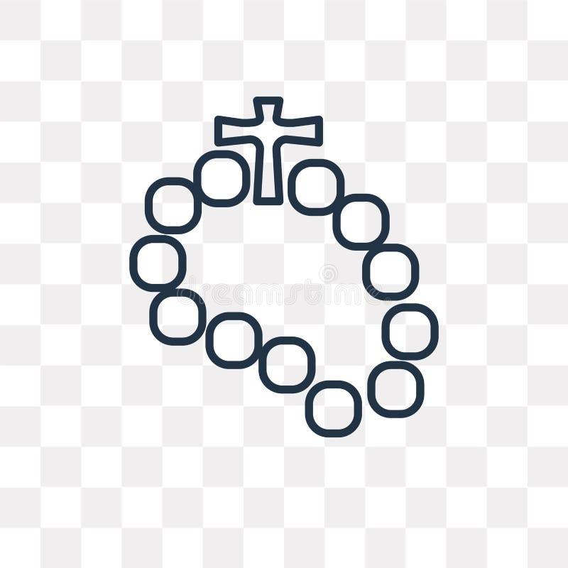 Różańcowa wektorowa ikona na przejrzystym tle, liniowy Ro ilustracja wektor