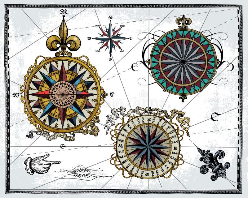 róża antykwarski wiatr royalty ilustracja