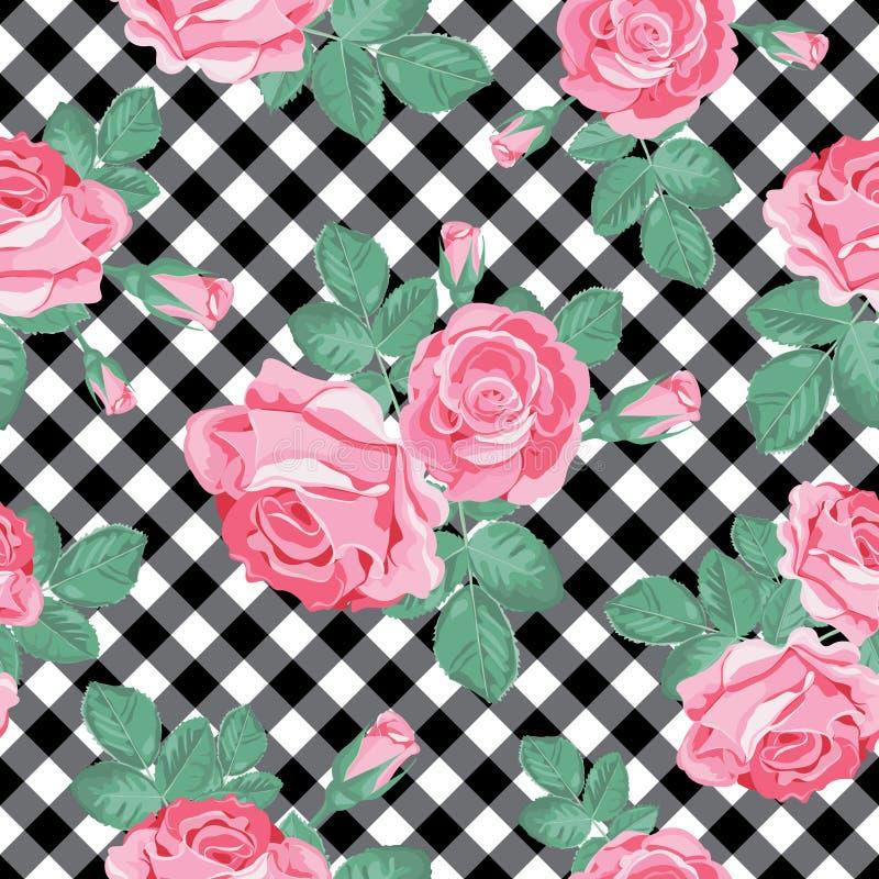 Róża bezszwowy wzór na czarny i biały gingham, chequered tło również zwrócić corel ilustracji wektora ilustracja wektor