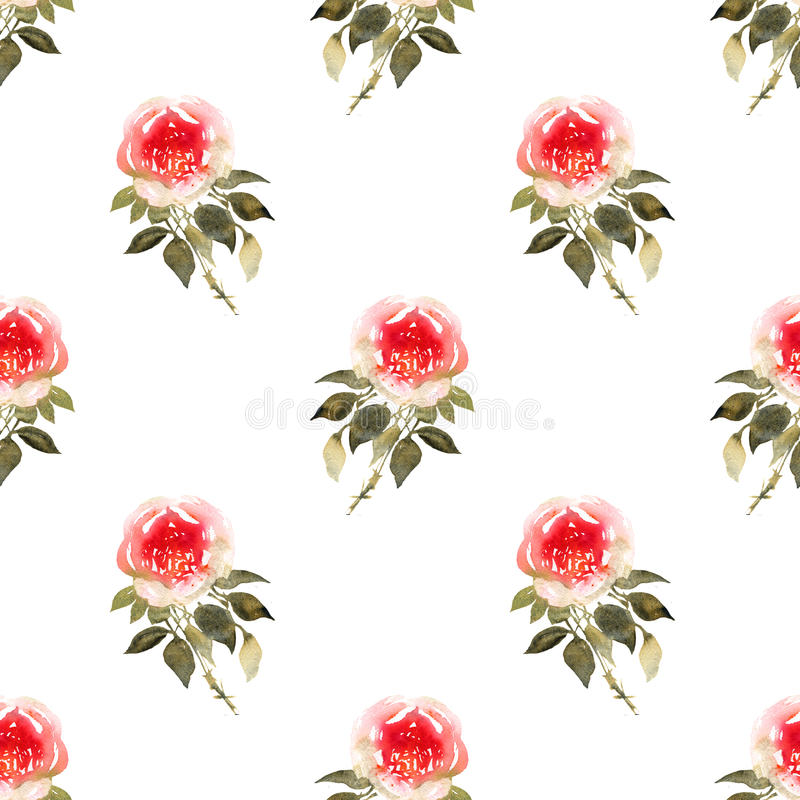 Róża bukietów akwareli bezszwowy wzór w kolorze żółtym i czerwieni royalty ilustracja