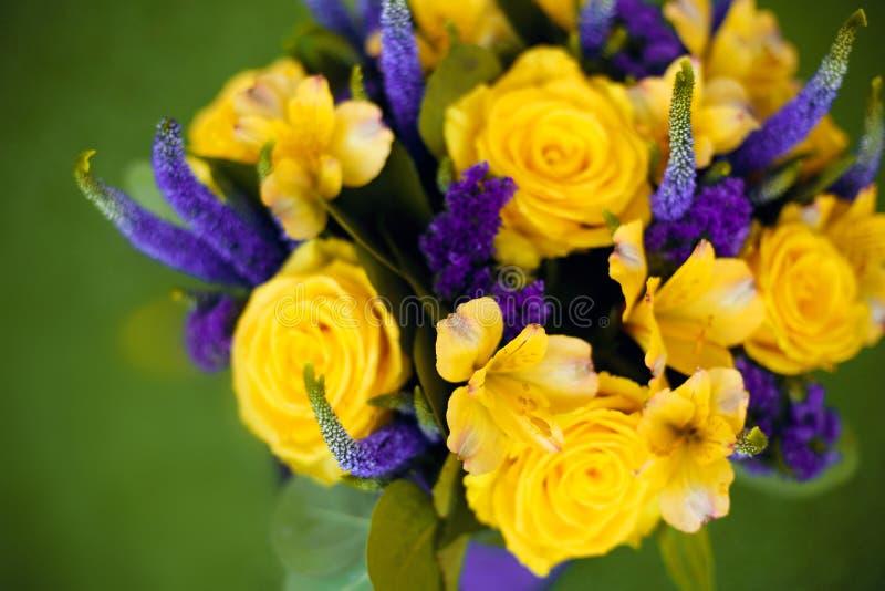 Róża bukiet kwiatu prezenta zakończenie up, żółty fiołkowy koloru flowe fotografia royalty free