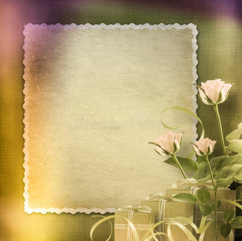 róża gratulacyjny pocztówkowy rocznik ilustracja wektor