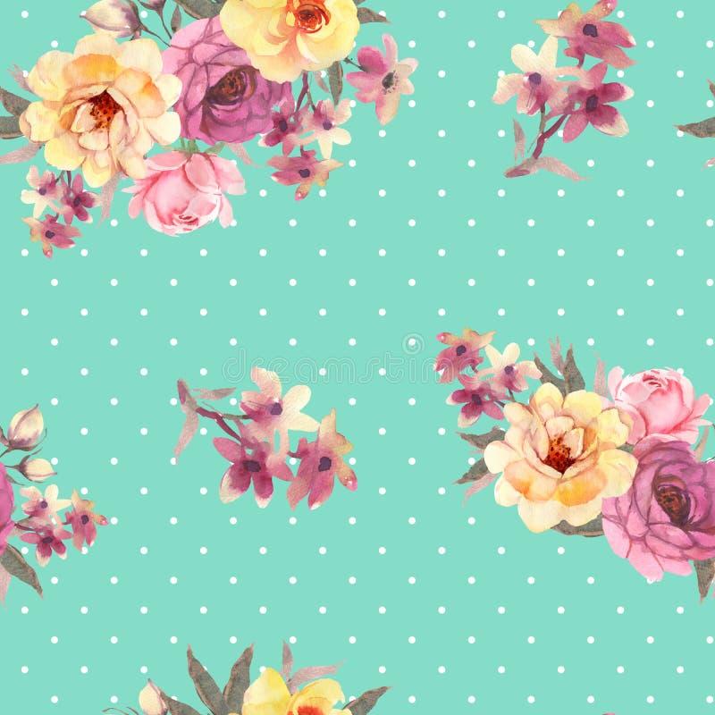 Róża kwiatu akwareli bezszwowy wzór ilustracji