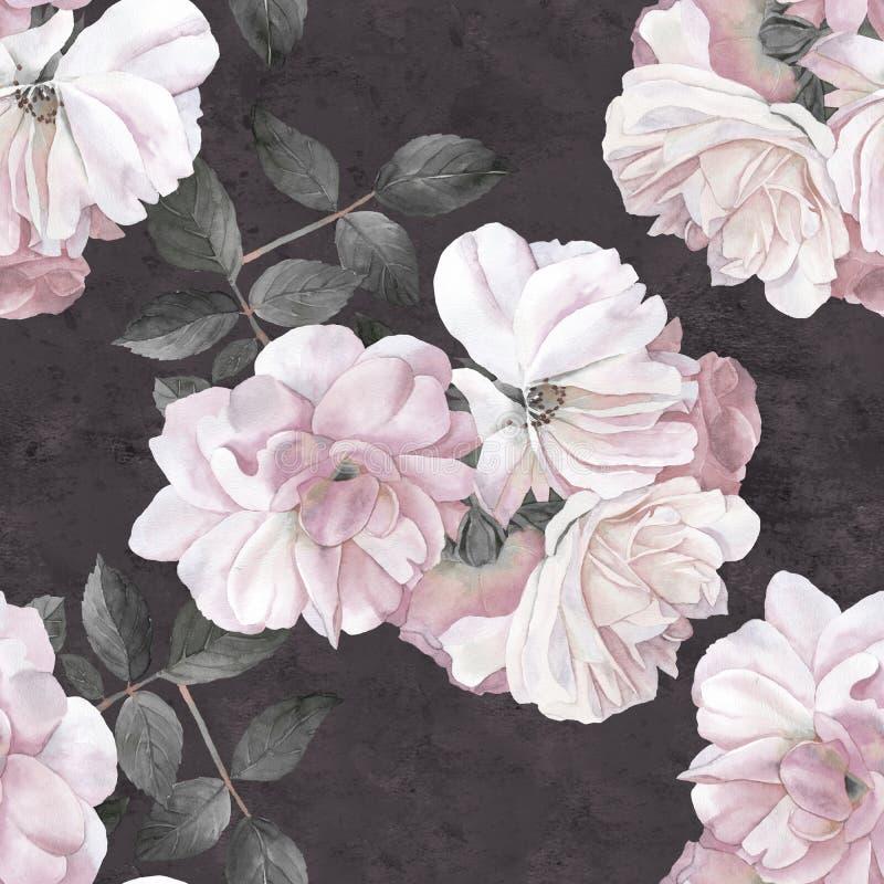 Róża kwiatu akwareli ciemny bezszwowy wzór ilustracja wektor