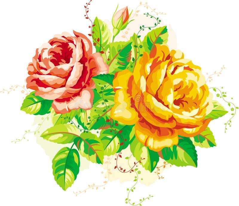 róża rocznik royalty ilustracja