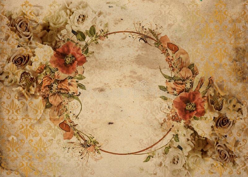Róża rocznika podławy modny tło royalty ilustracja