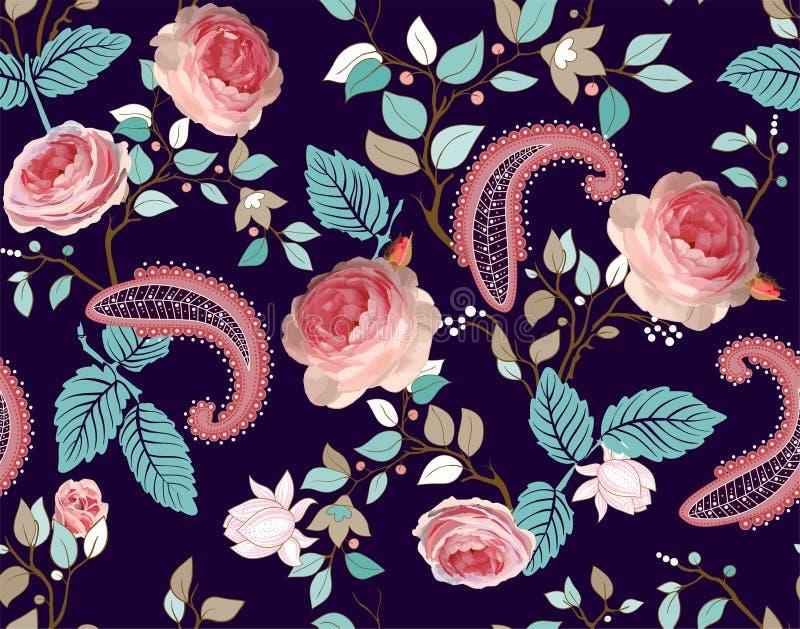 Róża wektoru wzór Kolorowa bezszwowa kwiecista tapeta, tło royalty ilustracja