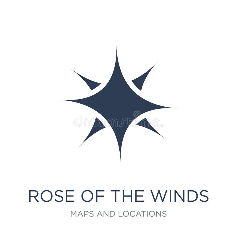 Róża wiatr ikona Modna płaska wektor róża wiatru ico royalty ilustracja