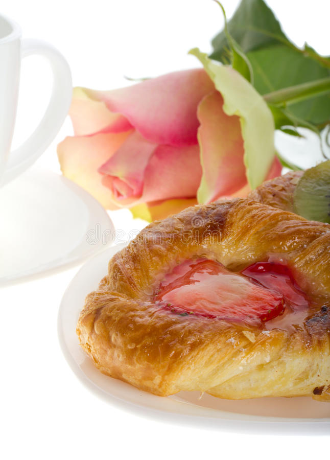 różana tort herbata zdjęcie stock