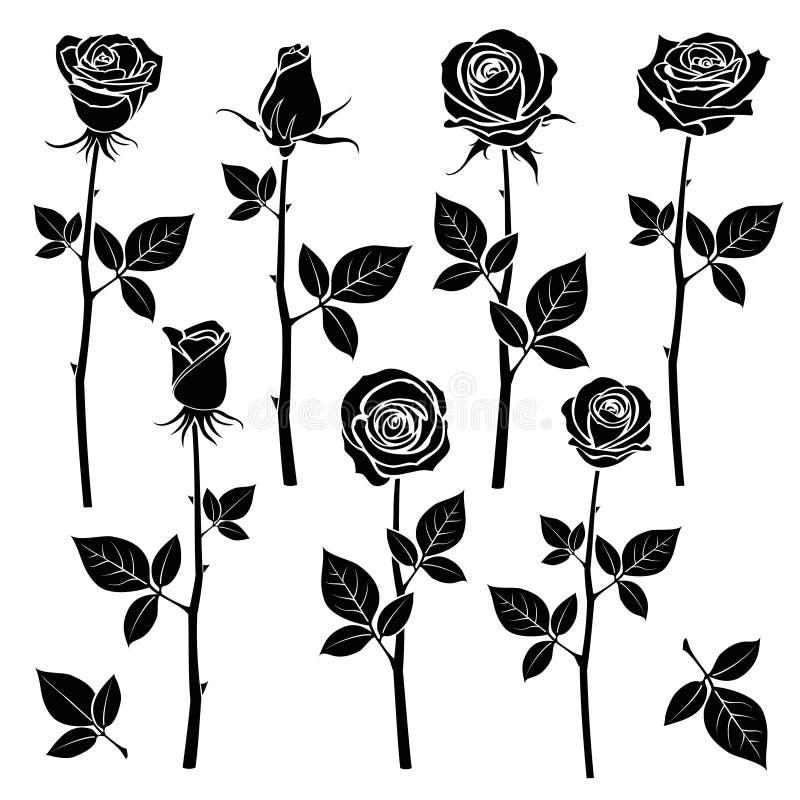 Różane sylwetki, wiosna pączkują wektorowych symbole ilustracja wektor