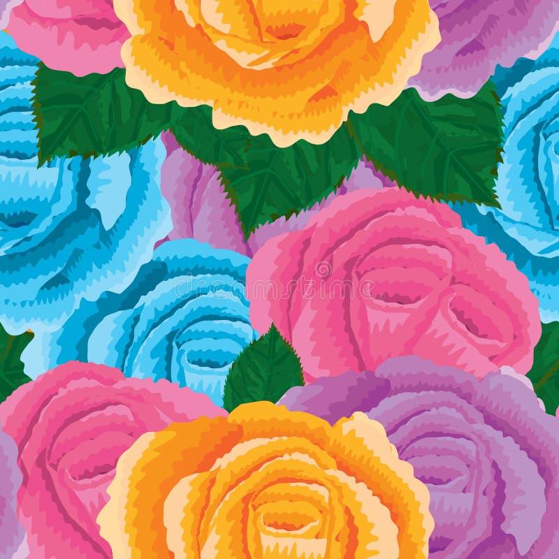 Różanego deaign kolorowy bezszwowy wzór ilustracji
