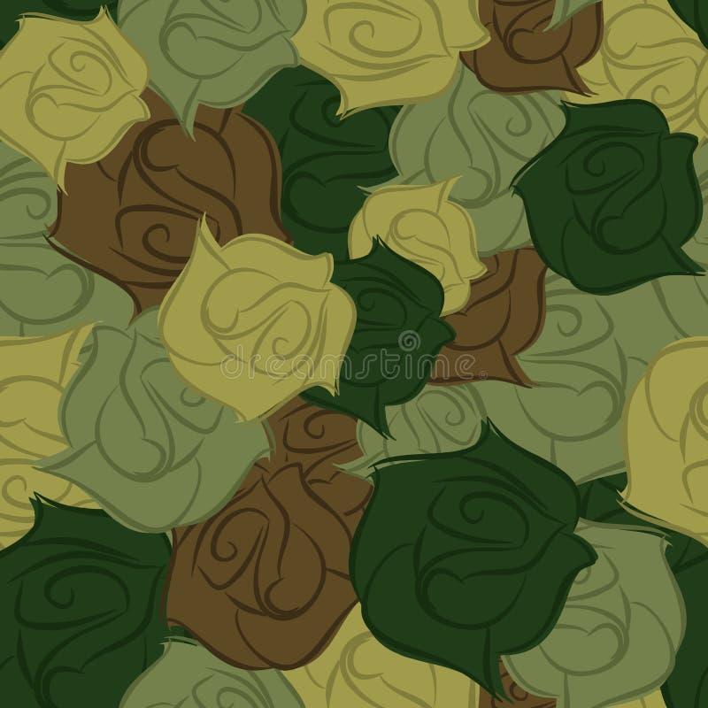 Różanego wojska bezszwowy wzór Militarna tekstura kwiaty wektor ilustracja wektor