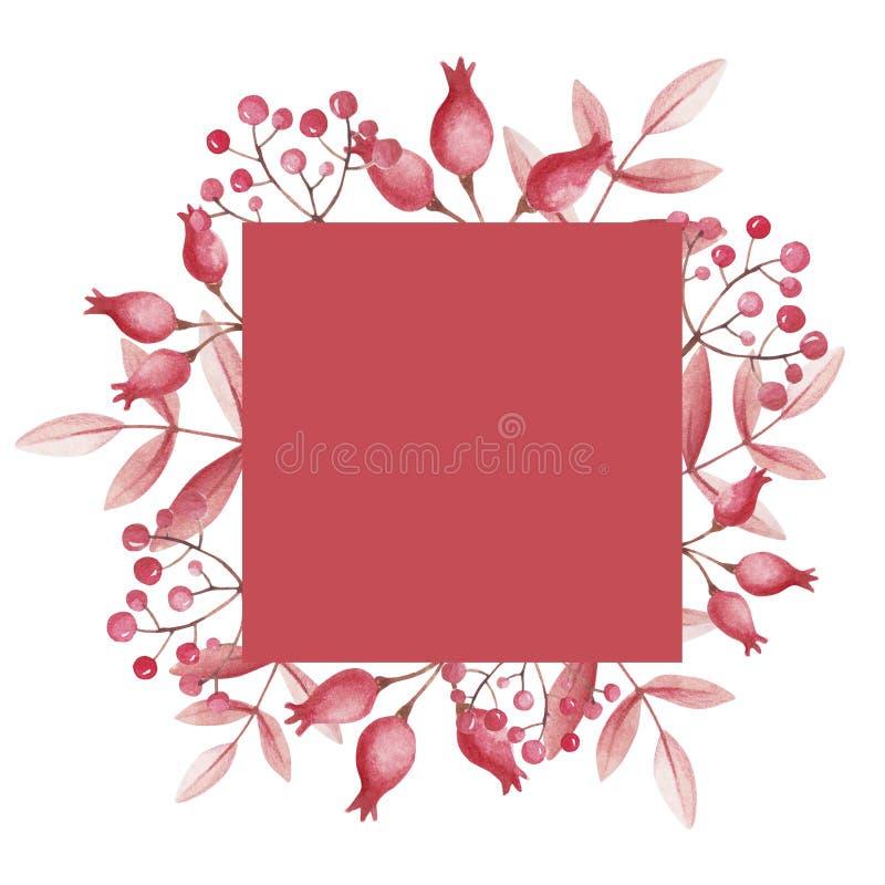 Różani biodra i halnego popiółu rama dla sklep sprzedaży Akwarela liście royalty ilustracja