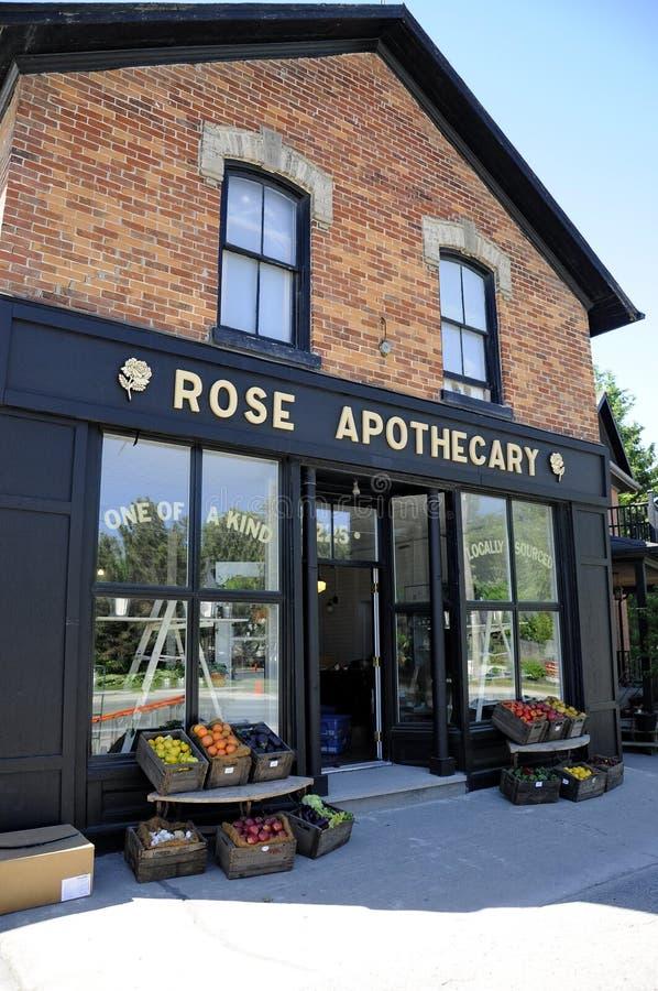 Różany Apothecary powieściowy sklep uwypuklał w Schitt ` s zatoczki serialach telewizyjnych zdjęcie royalty free