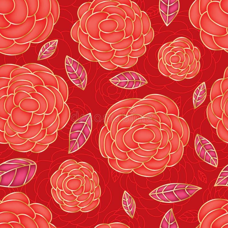 Różany czerwony rysunkowego koloru jaskrawy bezszwowy wzór ilustracji