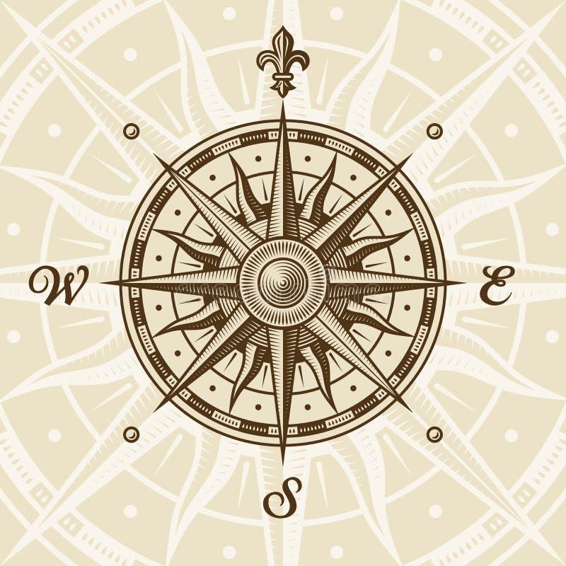 różany kompasu rocznik ilustracja wektor
