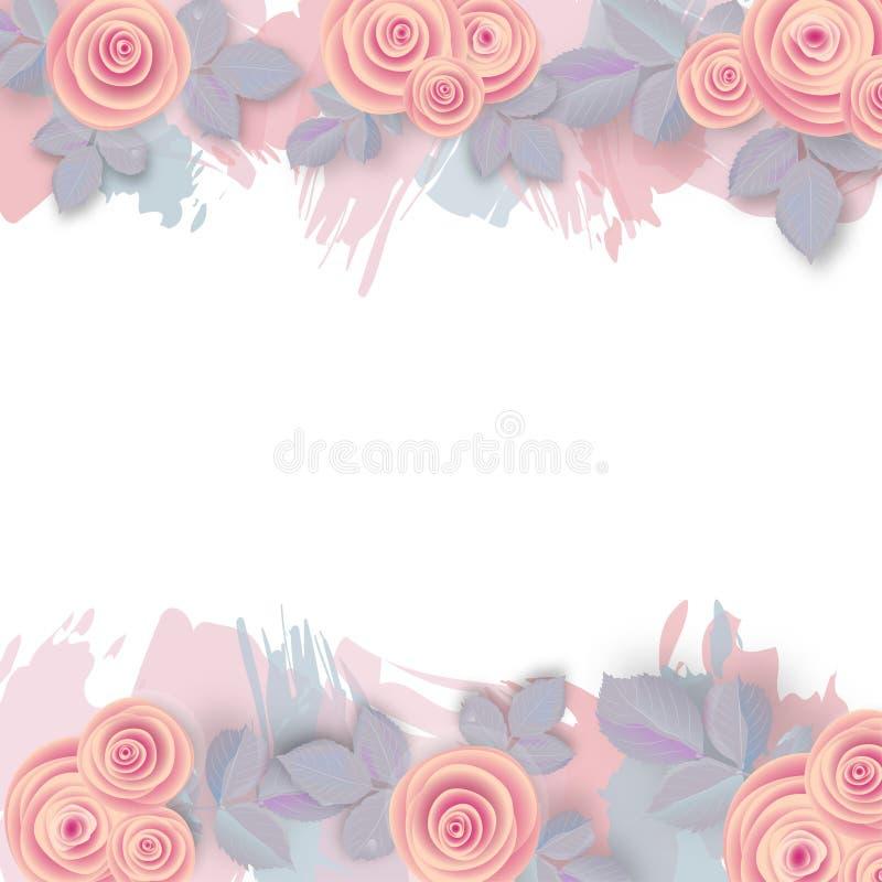 Różany tło z różowymi uderzeniami ilustracja wektor