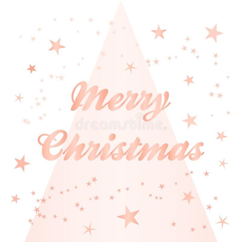 Różany złocisty świąteczny bożego narodzenia kartka z pozdrowieniami royalty ilustracja