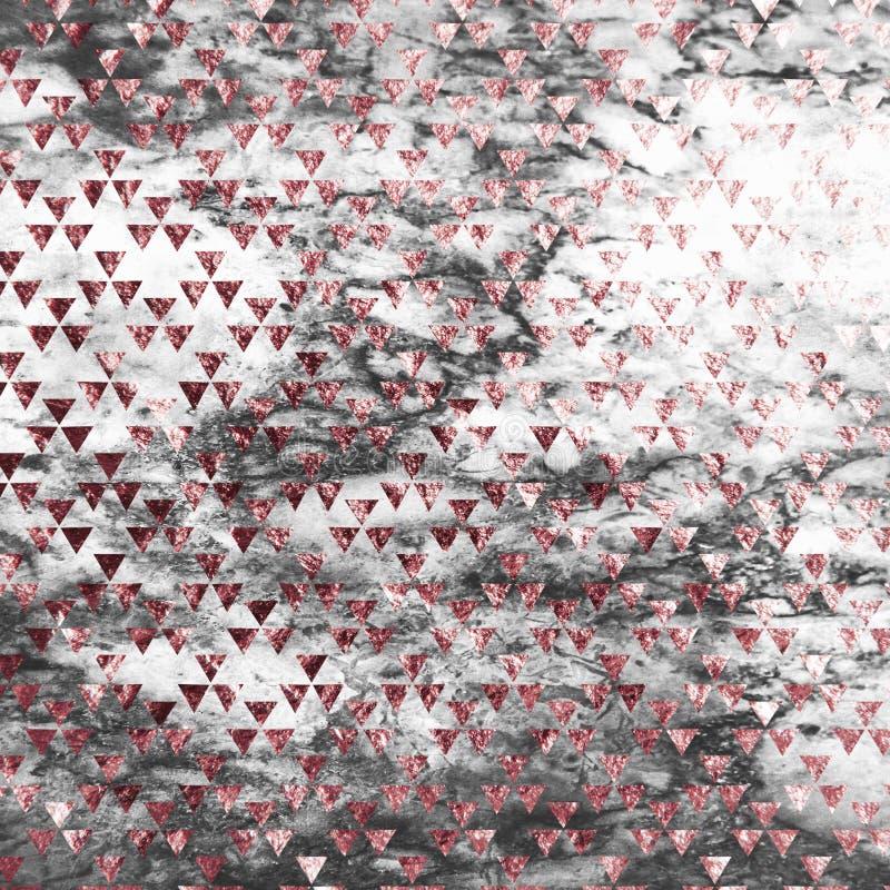 Różany złocisty trójbok na marmurowym tle Różana złocista tekstura Różany złoto kwadrata marmuru wzór Różana złoto marmuru tapeta royalty ilustracja