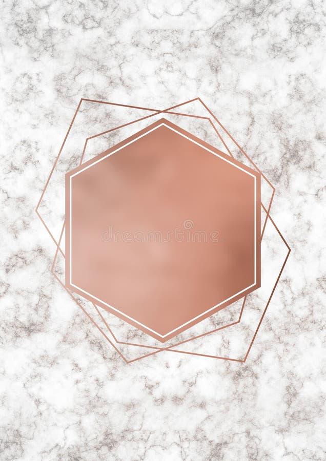 Różany złota i marmuru szablon ilustracja wektor