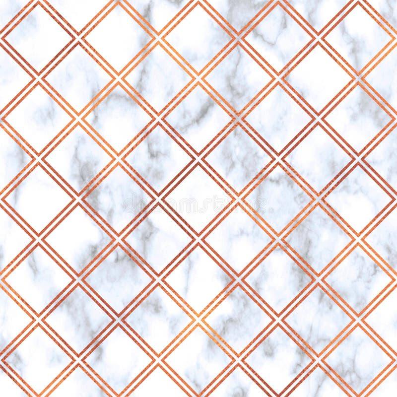 Różany złoto kwadrat na marmurowym tle, Różana Złocista tekstura Różany Złocisty geometryczny marmuru wzór Różana złoto marmuru t royalty ilustracja