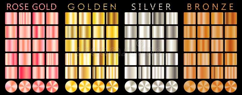 Różany złoto, złoty, osrebrza, brązowieje, gradient, wzór, szablon Set kolory dla projekta, kolekcja wysokiej jakości gradienty k ilustracja wektor