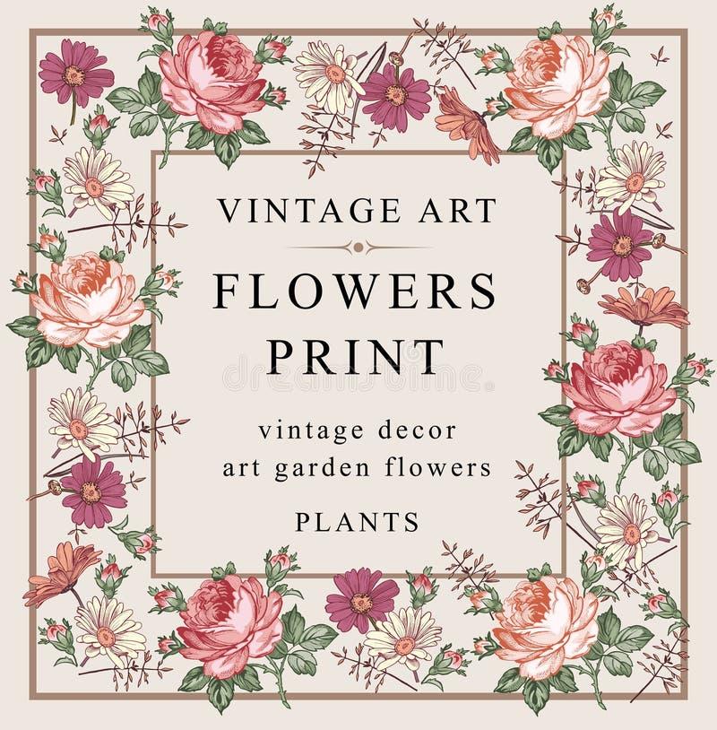 Róże, chamomile również zwrócić corel ilustracji wektora ilustracja wektor