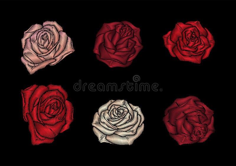 Róże hafciarskie na czarnym tle ilustracji