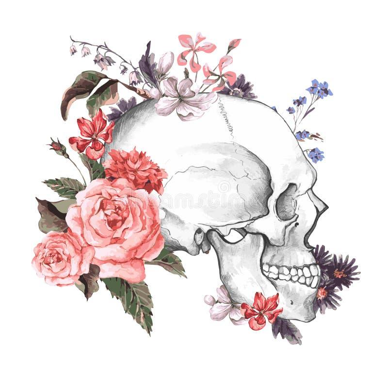 Róże i czaszka, dzień nieboszczyk, wektor ilustracji