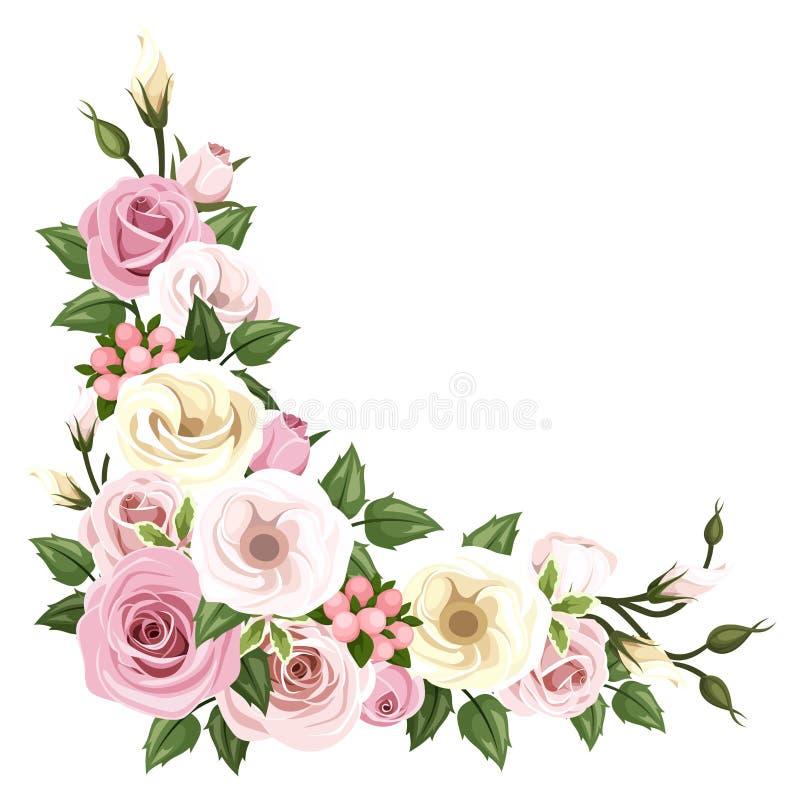 Róże i lisianthus kwiaty Wektoru narożnikowy tło ilustracja wektor