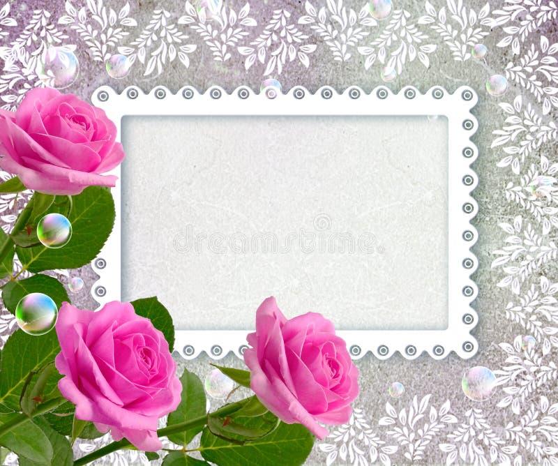 Róże i openwork rama ilustracji