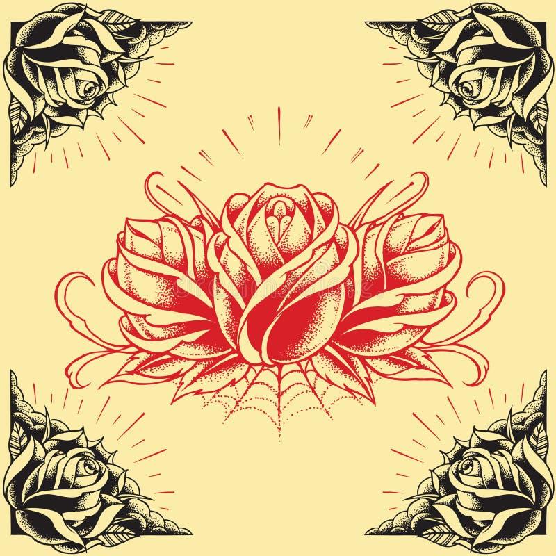 Róże i rama tatuażu stylu projekt ustawiają 01 royalty ilustracja
