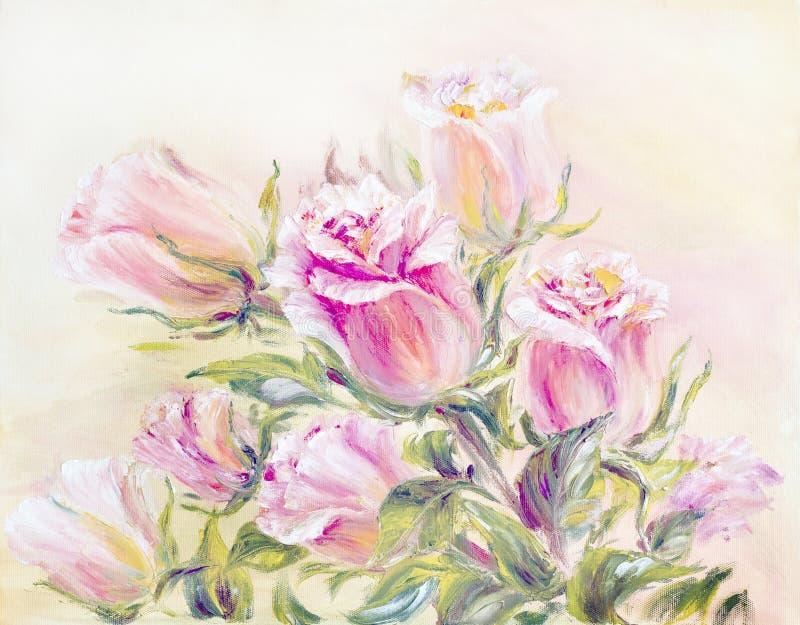 Róże, obraz olejny na kanwie ilustracji