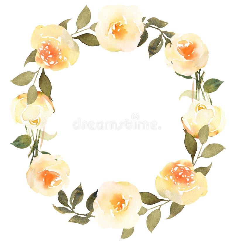 Róże w kwiat akwareli wianku ilustracja wektor
