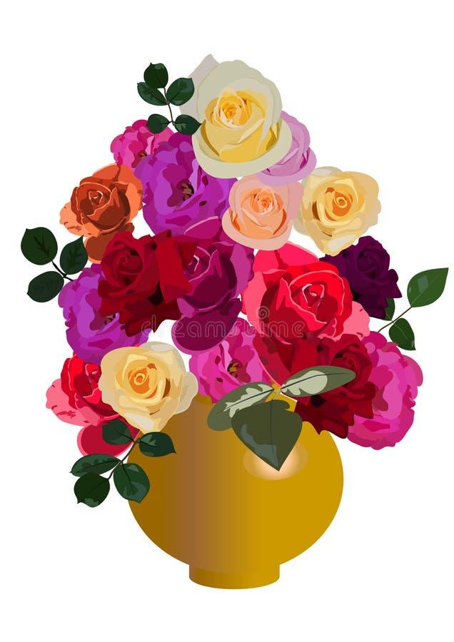 róże wazowe royalty ilustracja