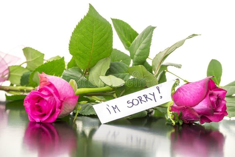 Róże z jestem zmartwionym wiadomością fotografia stock