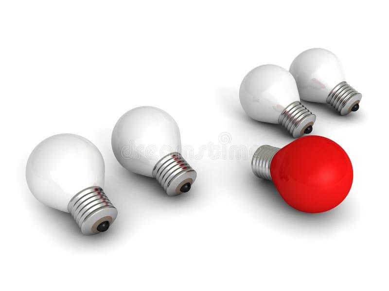 Różna czerwona pomysł żarówka na bielu ilustracja wektor