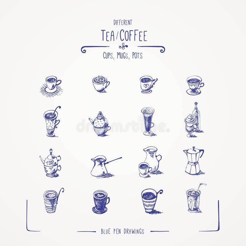 Różna herbata & filiżanki, kubki, garnki. ilustracja wektor