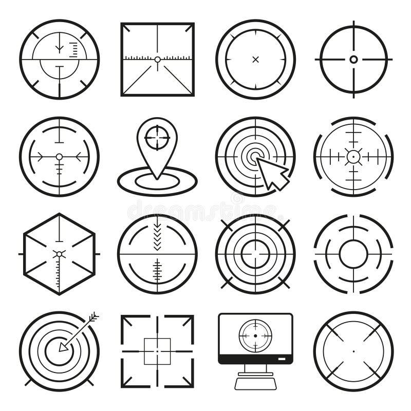 Różna ikona ustawiająca cele i miejsce przeznaczenia ilustracji