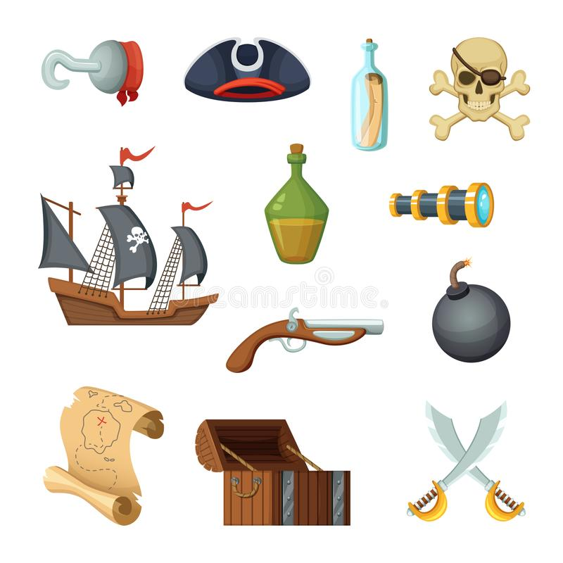 Różna ikona ustawiająca pirata temat Czaszka, skarb mapa, batalistyczny statek corsair i inni przedmioty w wektorze, projektujemy royalty ilustracja
