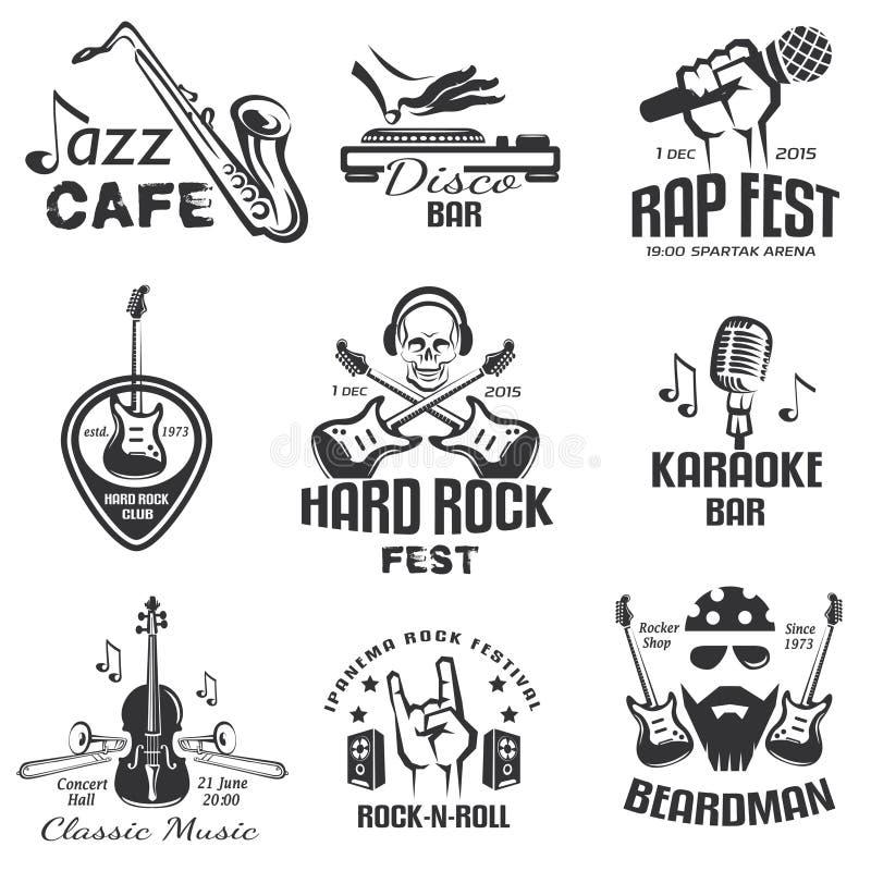 Różna muzyka projektuje retro emblematy ilustracja wektor