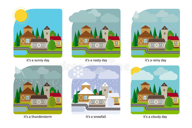 Różna pogoda w grodzkich ilustracjach royalty ilustracja