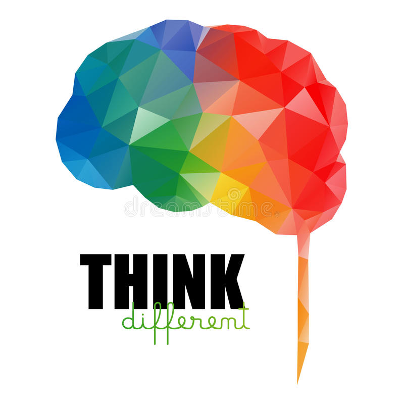 różna pojęcie myśl Niski poli- kolorowy mózg ilustracja wektor