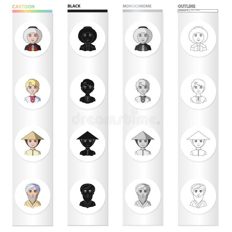 Różna rasa eskimosy, rosjanin, chińczyk, Środkowy Azja Ras ludzkich ustalone inkasowe ikony w kreskówce czernią ilustracji