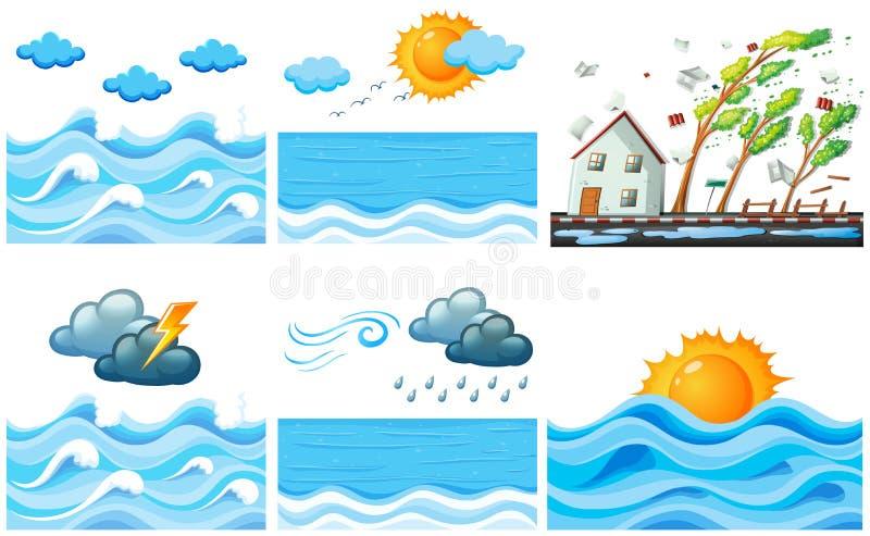 Różna scena z zmianami klimatu ilustracja wektor