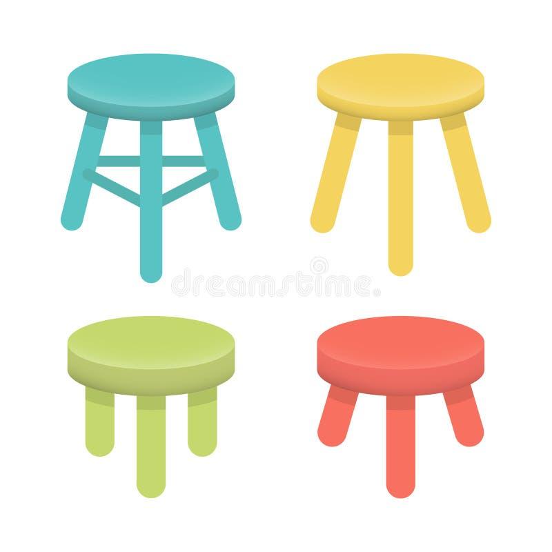 Różna stolec z trzy nóg wektoru setem ilustracji