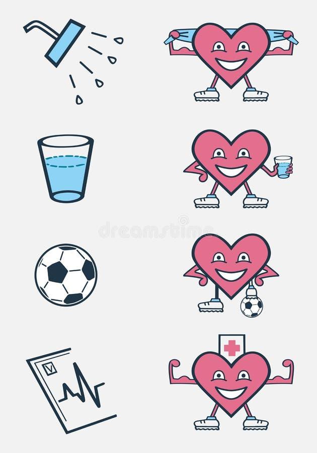 Różne aktywność pożytecznie dla serca ilustracji