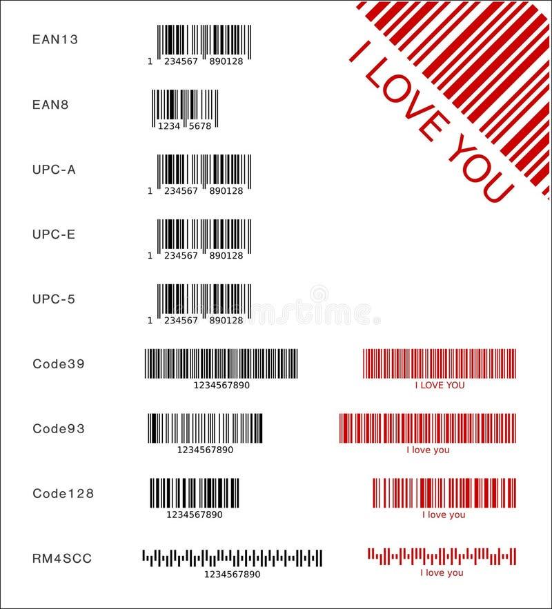 różne barcodes royalty ilustracja