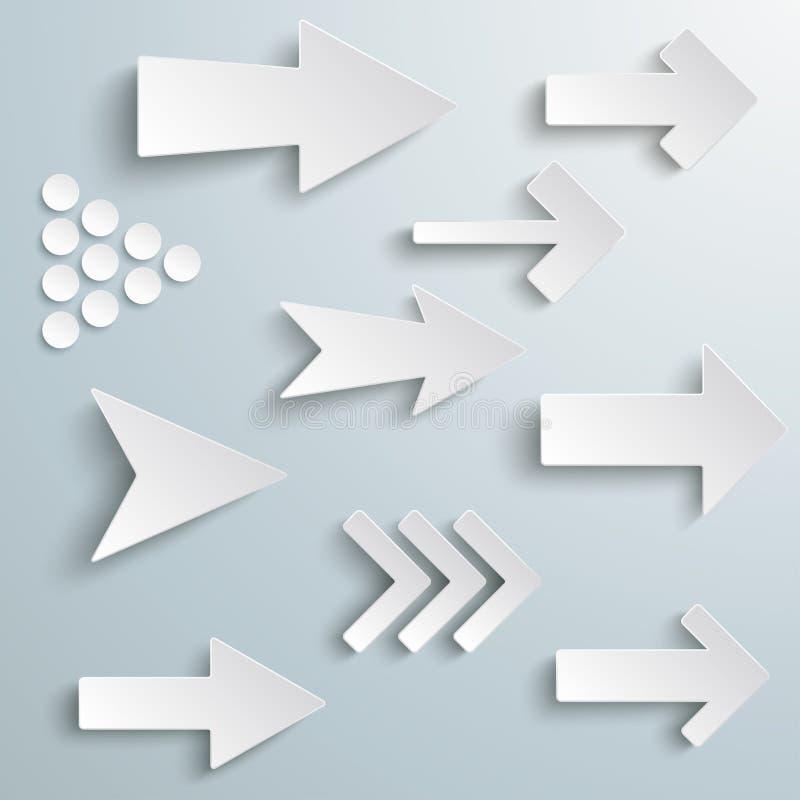 Różne Białe strzała ilustracji