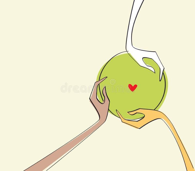 Różne biegowe ludzkie ręki pokojowo trzyma zieloną planety ziemię royalty ilustracja